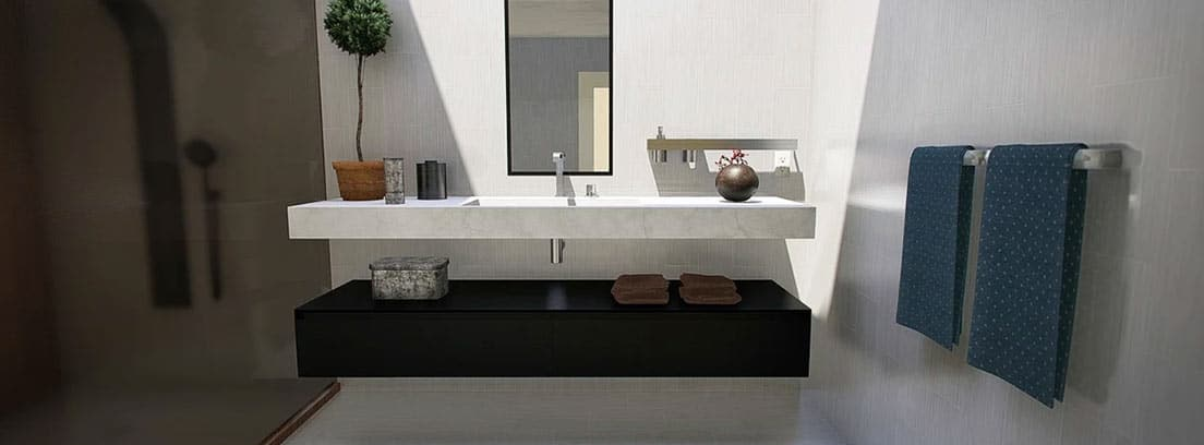 lavabo con mueble de perfil bajo