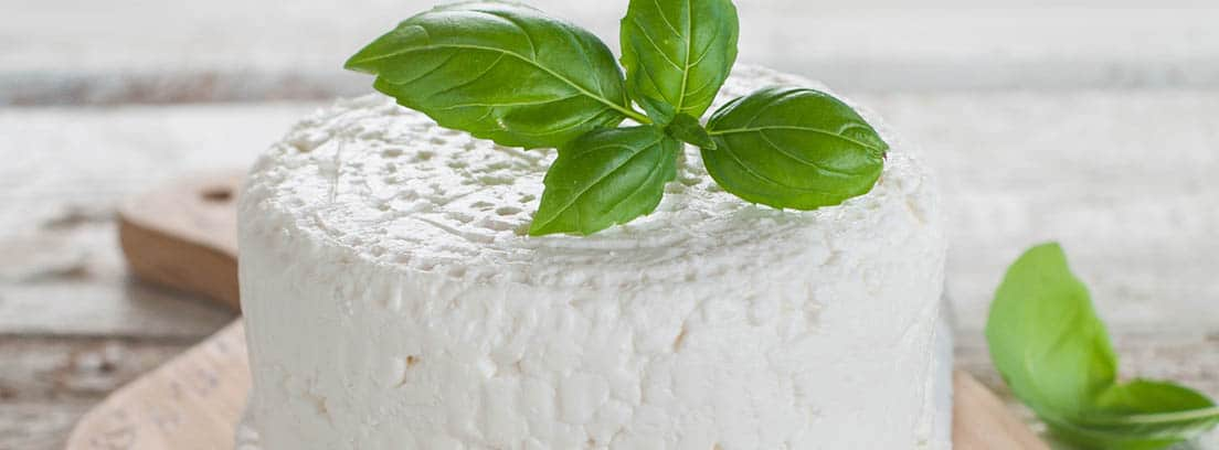 Queso fresco sobre una tabla con albahaca