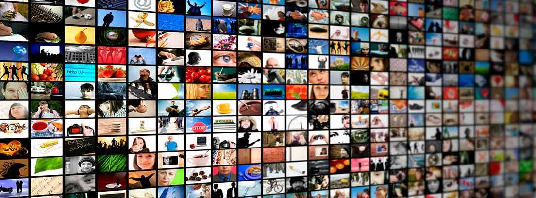 Mosaico con varias pantallas de televisión