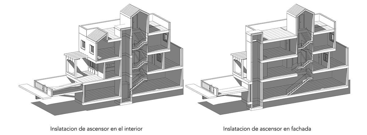 Plano de un edificio en el que se ve del hueco de un ascensor