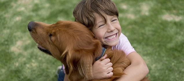 Niño abrazando a perro