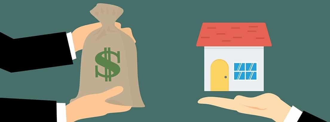 Ilustración de una mano con un saco de dinero y otra mano con una casa