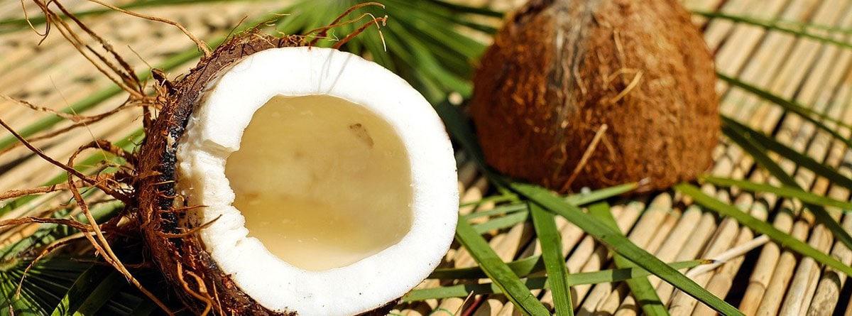 Coco abierto por la mitad