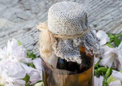 Flores de saponaria y frasco de aceite