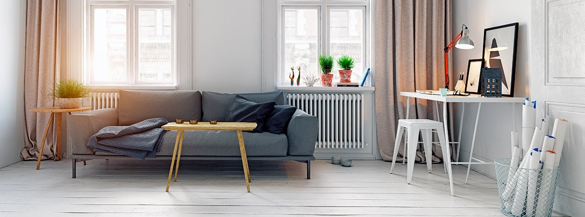 Salón decorado con estilo sueco